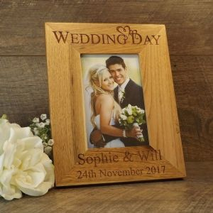Personalised Wedding Day Solid Oak Wooden Photo Frame Wedding Gift